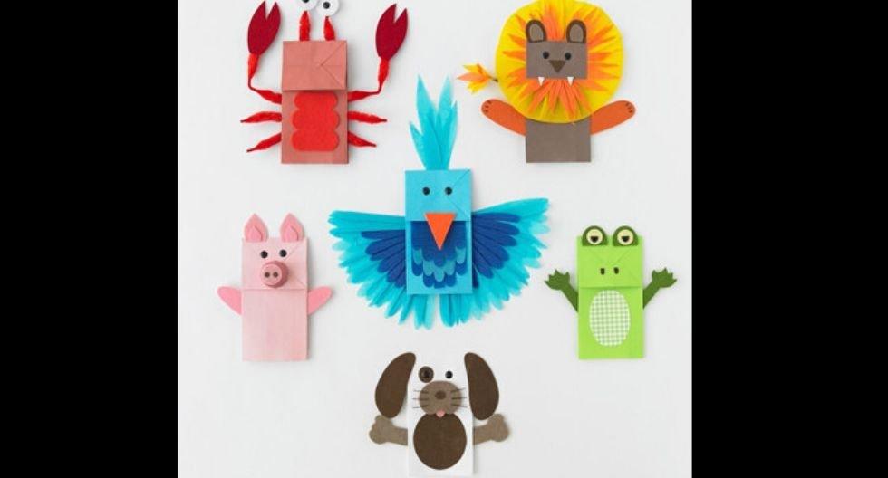 titeres de animalitos con bolsas de papel